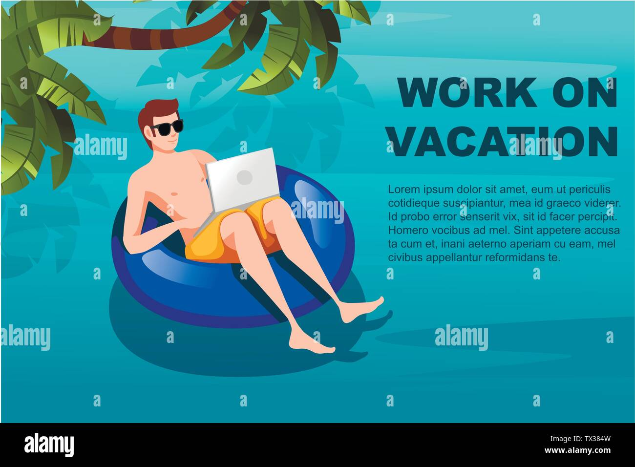 Young man floating on an blue inflatable circle with laptop flat vector illustration work at vacation horizontal banner - Stock Vector
