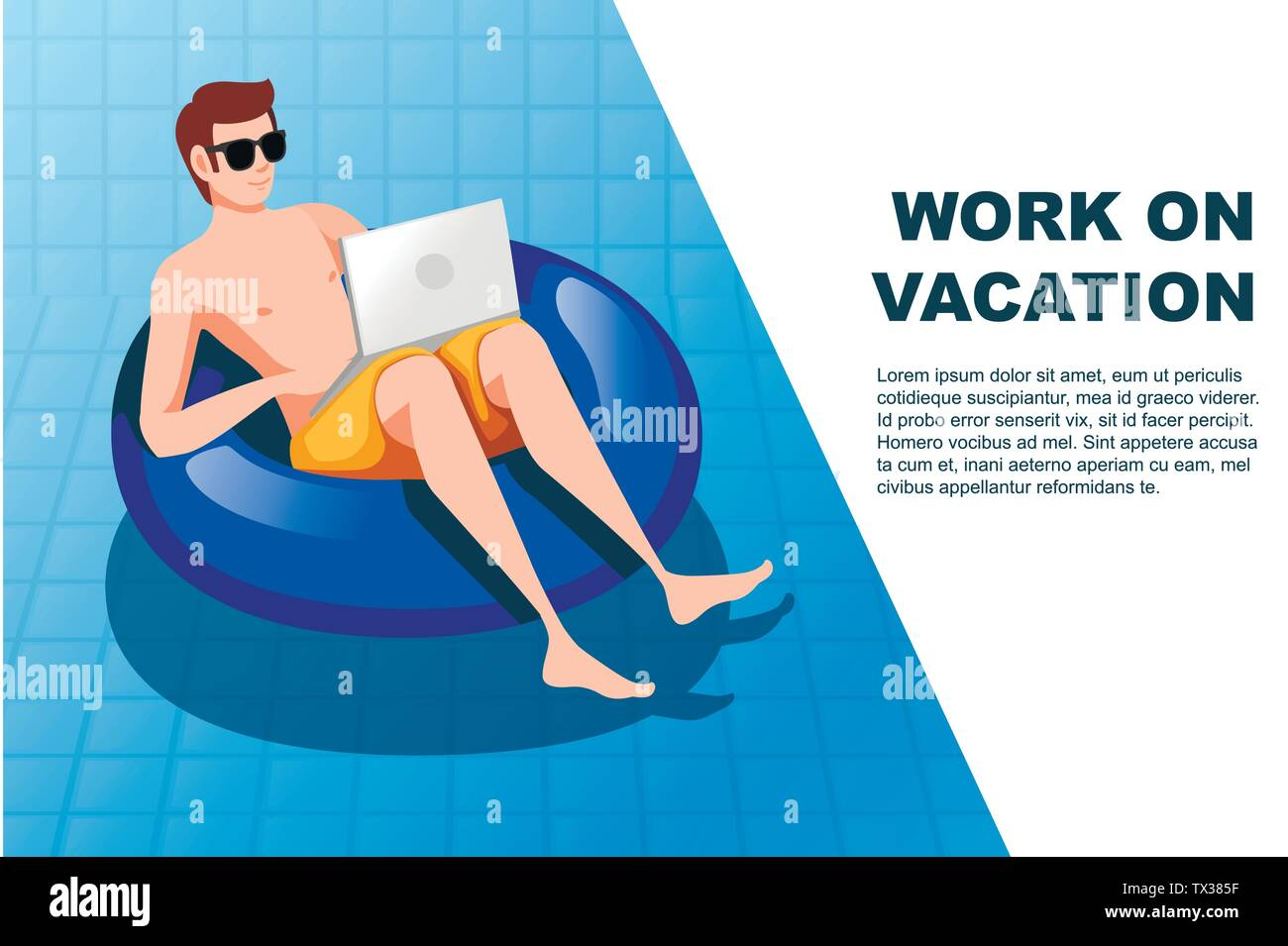 Young man floating on an blue inflatable circle with laptop swimming pool flat vector illustration work at vacation horizontal banner - Stock Vector
