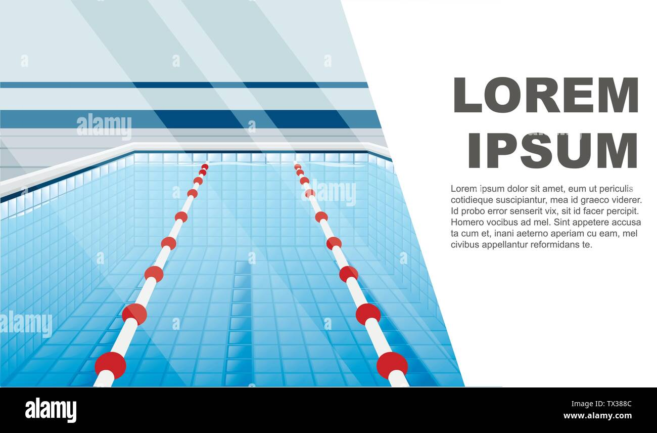 Professional swimming pool with paths for dip and water flat vector illustration place for text horizontal banner - Stock Vector
