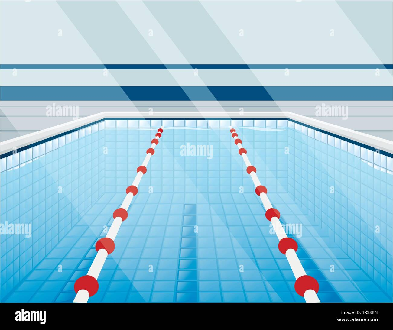Professional swimming pool with paths for dip and water flat vector illustration - Stock Vector