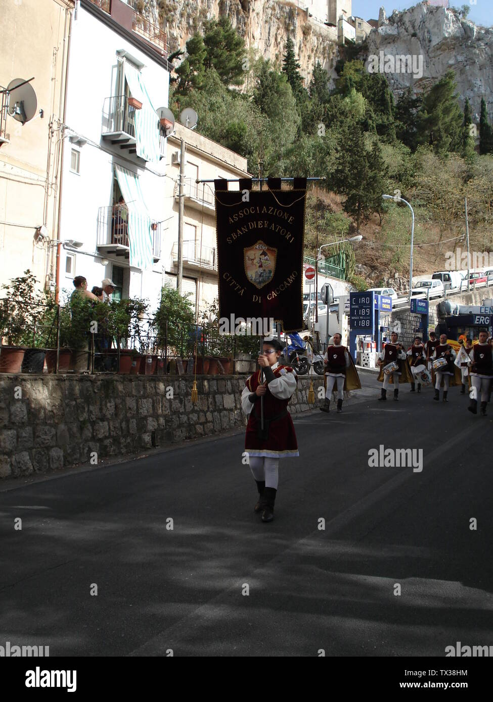 'English: Caccamo Sicily Via liberta, near the entrance to the Castle on 8-34-07 'Festa del Padrone'; 13 September 2007 (original upload date); Transferred from en.wikipedia to Commons by Rootology using CommonsHelper.; Salthecop at English Wikipedia; ' - Stock Image