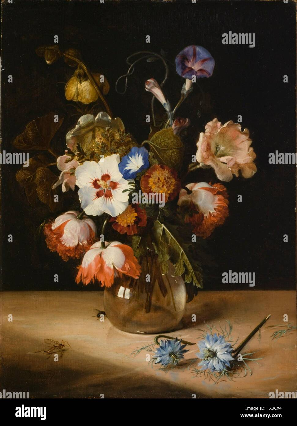 Flowers in a Glass Vase;  1671 Paintings Oil on wood Canvas:  19 x 14 in. (48.26 x 35.63 cm); Framed:  25 x 20 1/2 x 2 in. (63.5 x 52.07 x 5.08 cm) Gift of Mr. and Mrs. Edward William Carter (M.2009.106.4) European Painting Currently on public view: Ahmanson Building, floor 3; 1671date QS:P571,+1671-00-00T00:00:00Z/9; Stock Photo