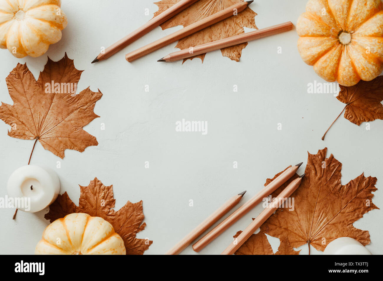 Autumn Flat Lay With Small Pumpkins Fall Maple Leaves And Wooden