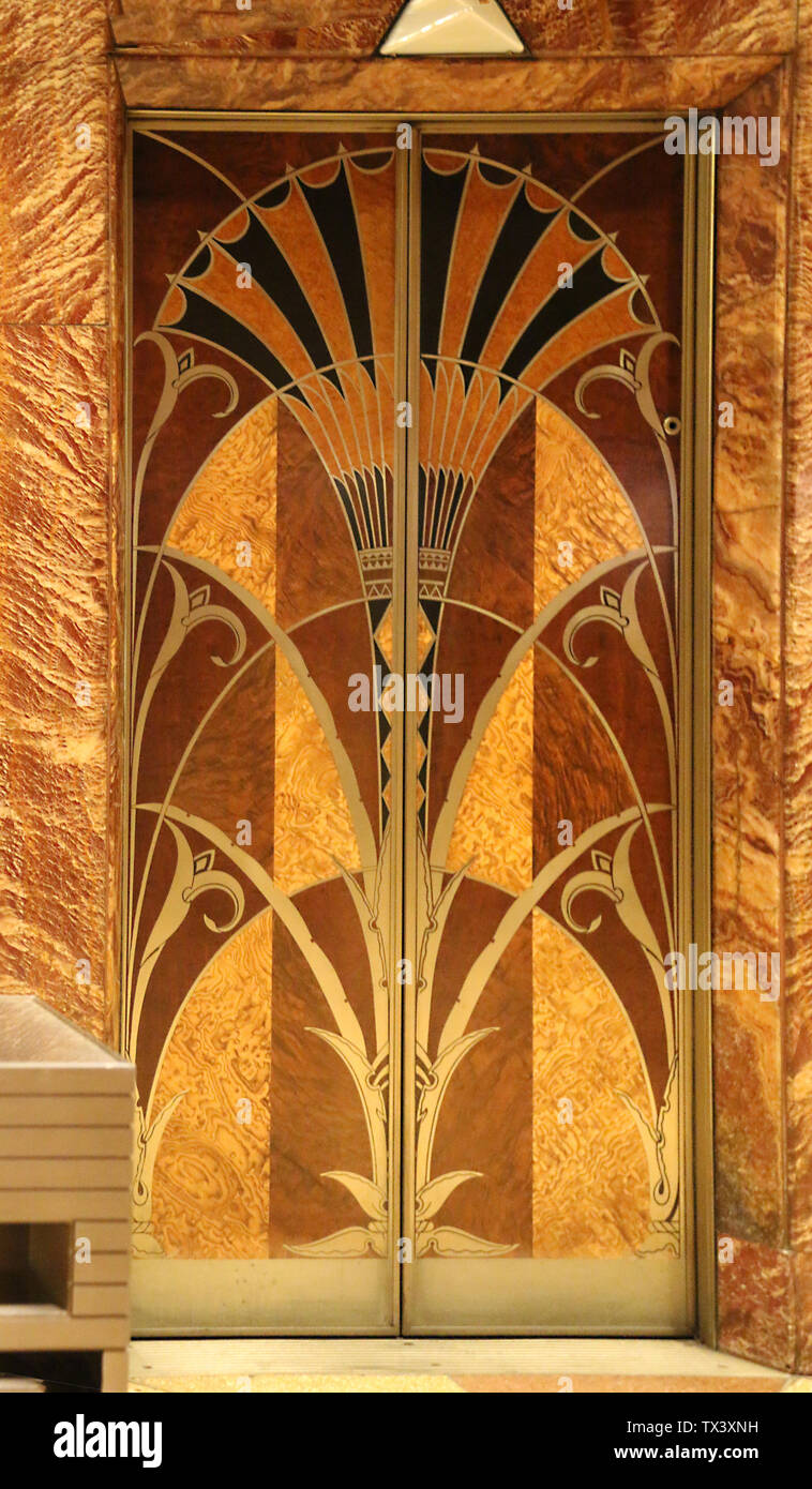 Beautiful maquetry of the elevators in the lobby of the Chrysler Building, New York City, New York, USA - Stock Image