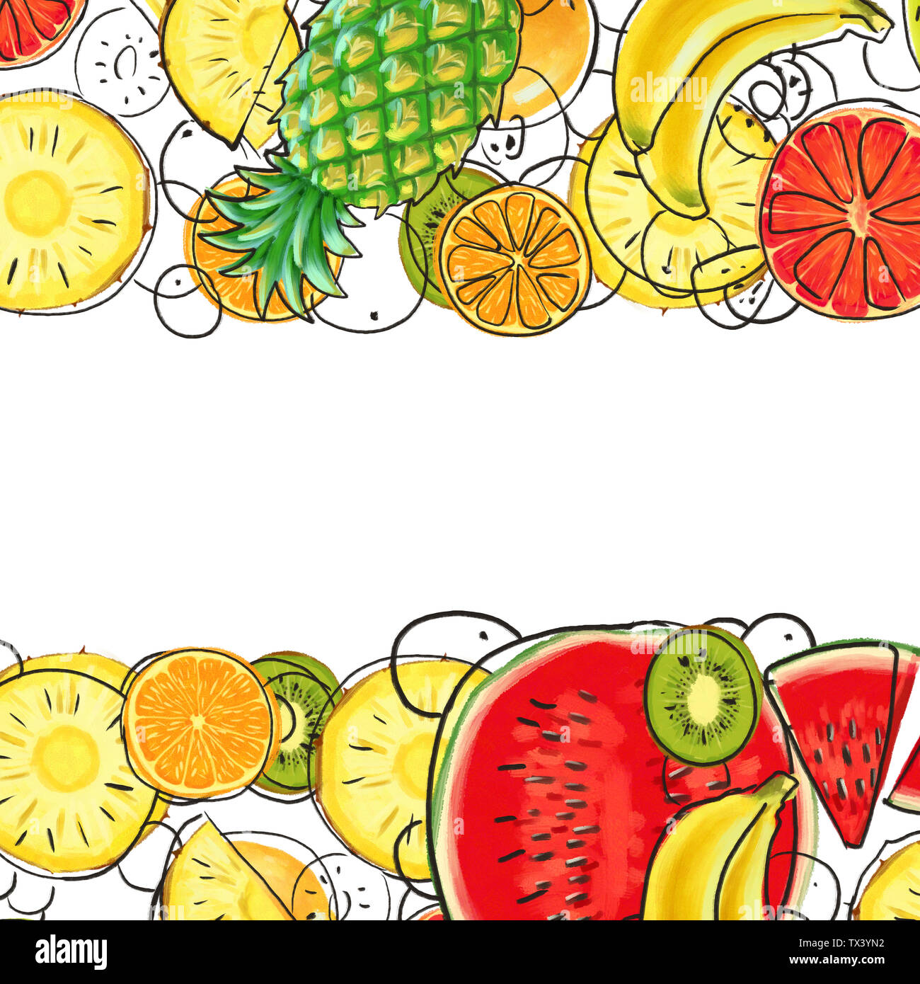 Hand drawn Exotic Fruit border isolated on white background - Stock Image
