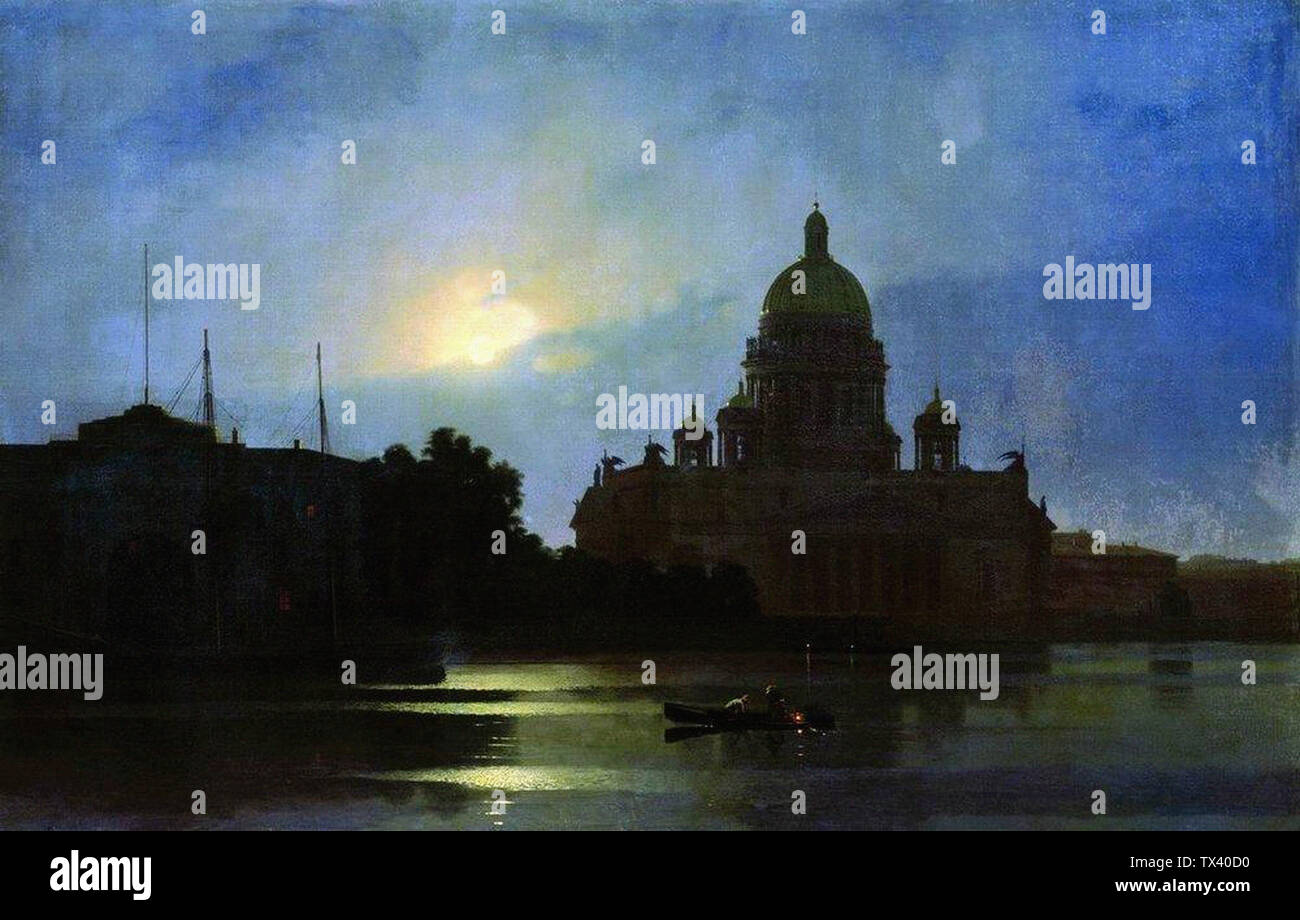Arkhip Kuindzhi - View Isaac Cathedral Moonlight Night 1869 - Stock Image