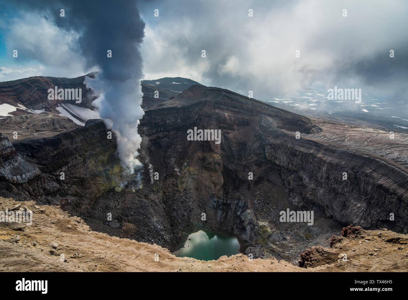 Russia, Kamchatka, steaming fumarole on the Gorely volcano - Stock Image