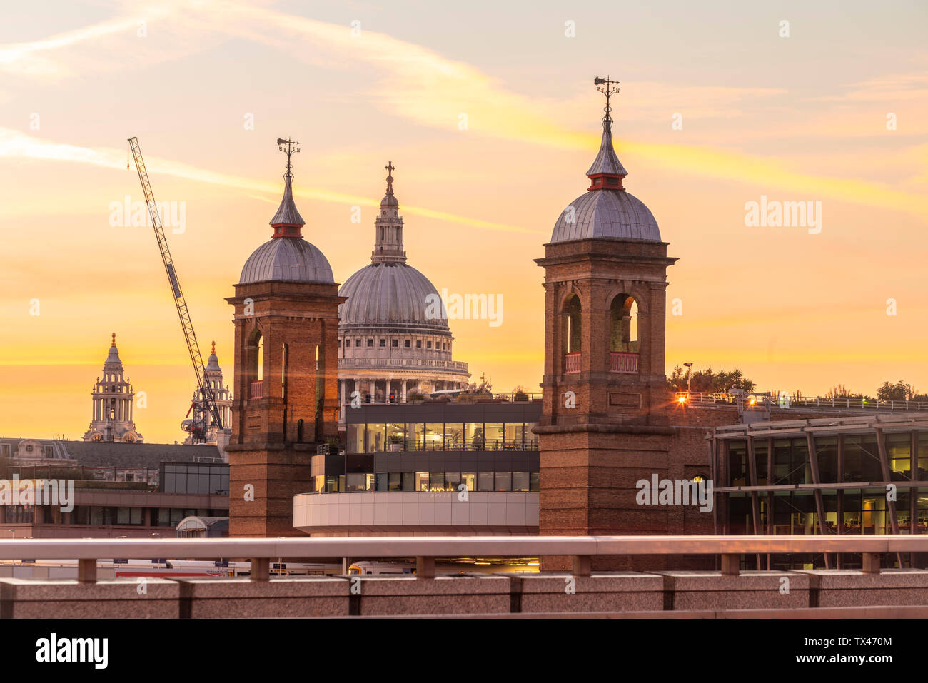 UK, London, The dome of St. Paul's Cathedral seen from the London Bridge - Stock Image