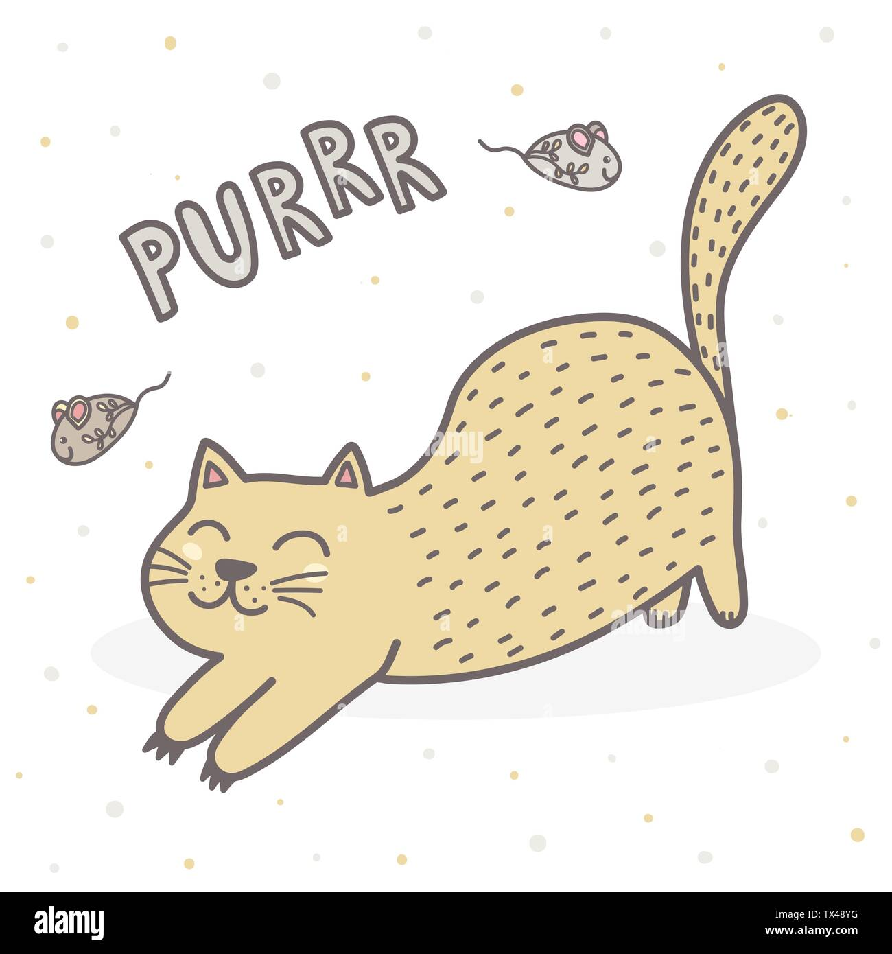 Cute Purring Cat Print Funny Card For Children Vector Illustration Stock Vector Image Art Alamy