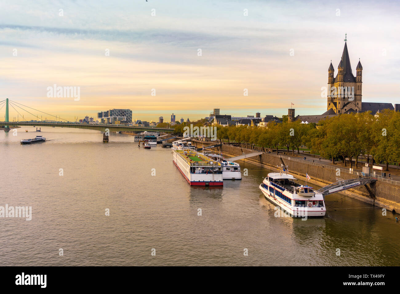 Germany, Cologne, church Great St Martin at River Rhine - Stock Image