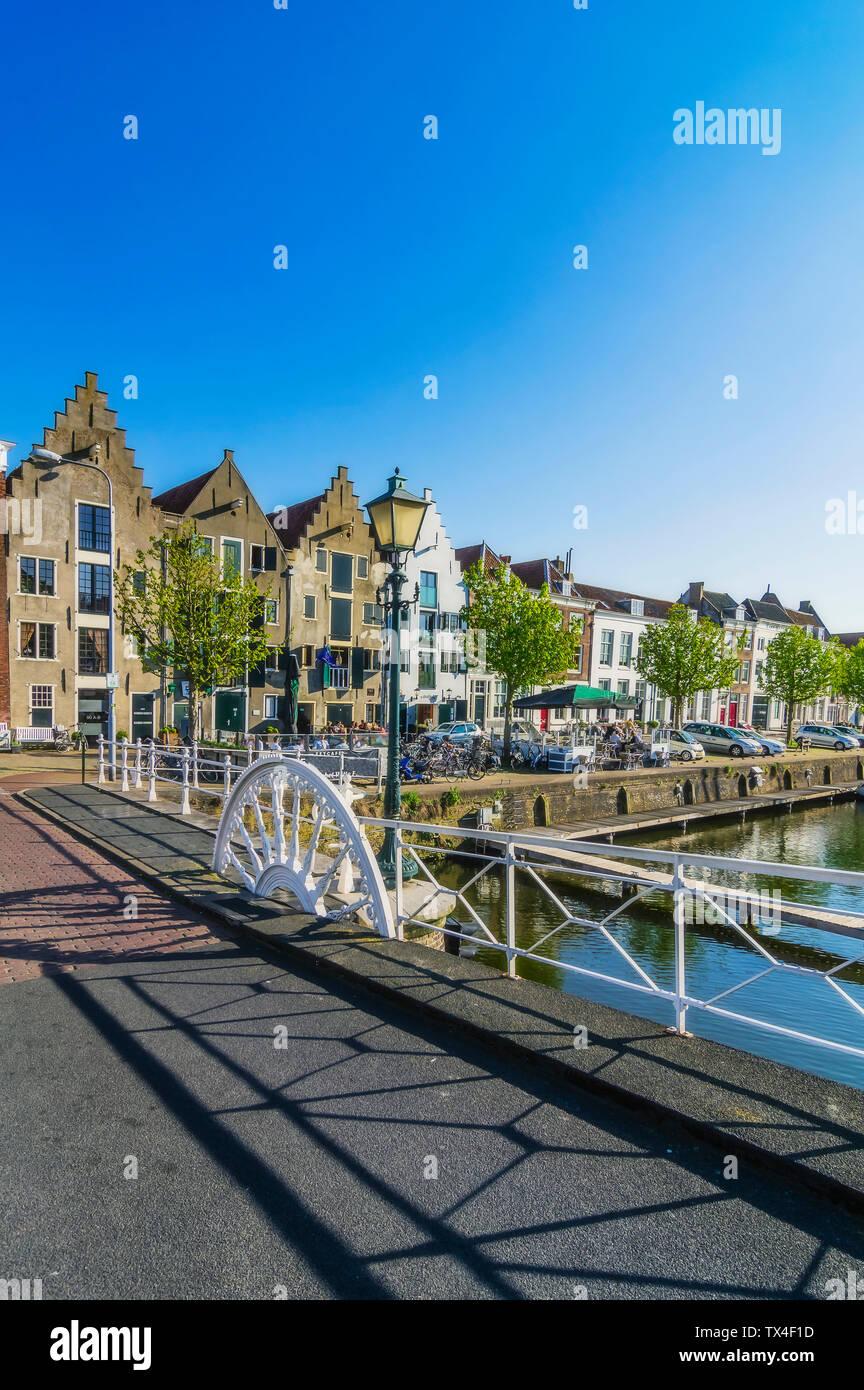 Zeeland, Middelburg, Old town, canal and bridge Stock Photo