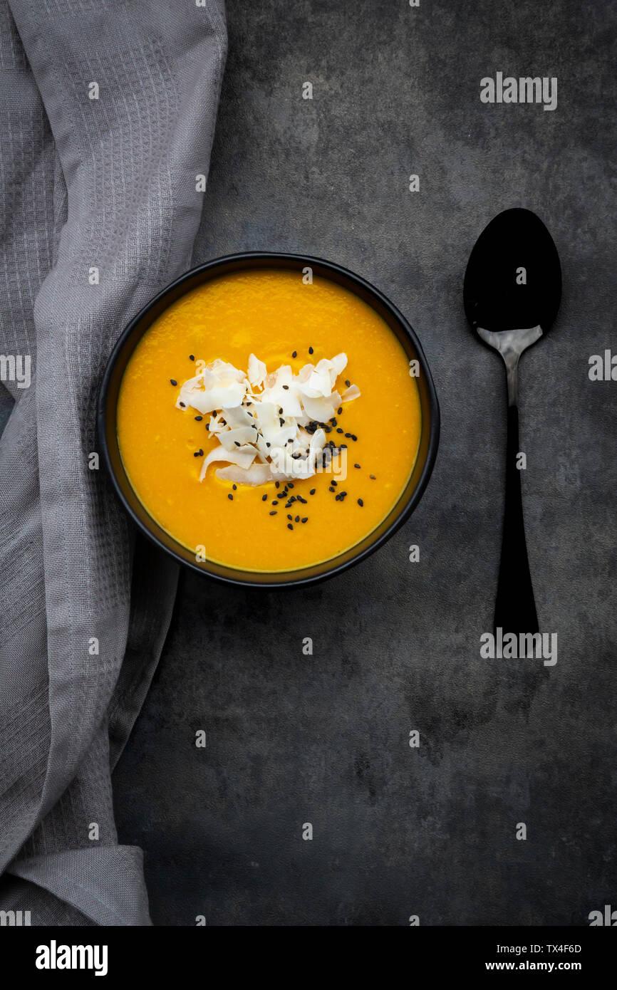 sweet potato soup  with mango, curcuma and coconut milk - Stock Image