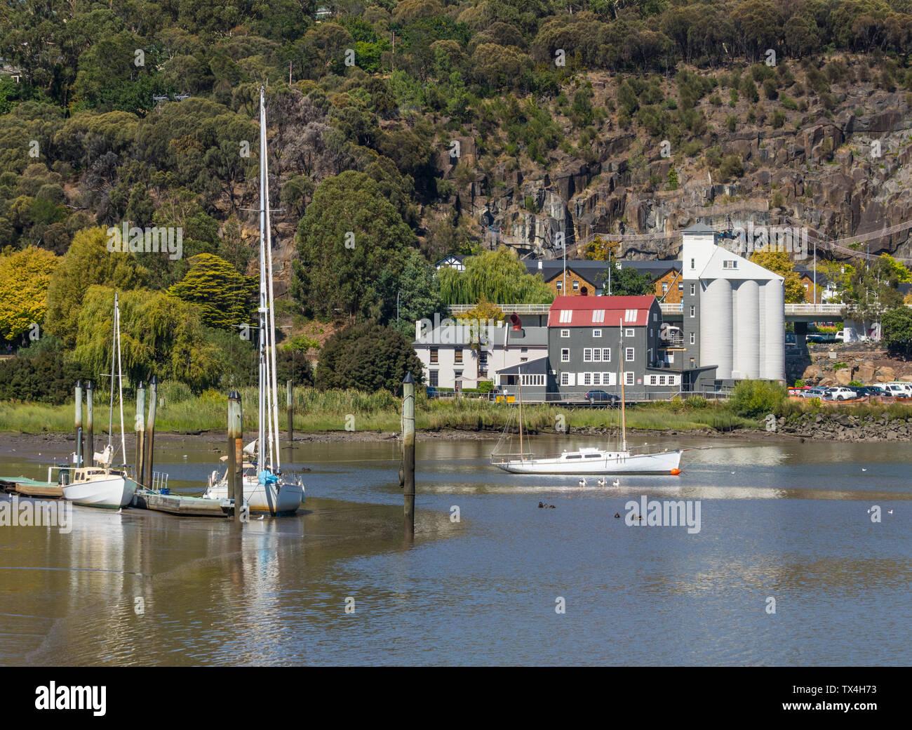 Yachts moored in the Tamar River in Launceston, in Tasmania, Australia. Stock Photo