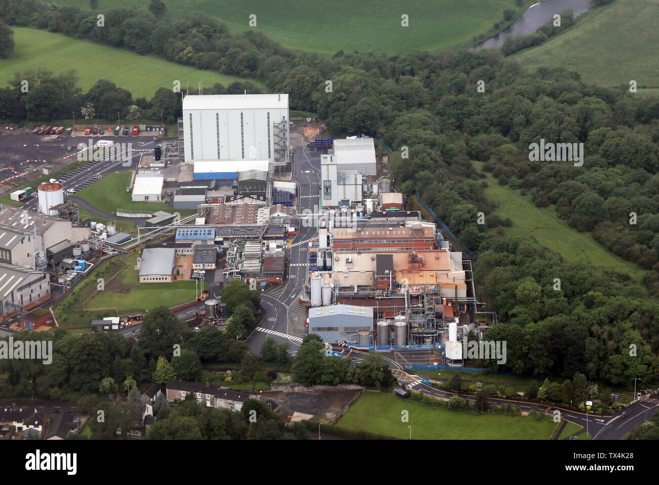 aerial view of the Johnson Matthey factory plane at Clitheroe, Lancashire, UK - Stock Image