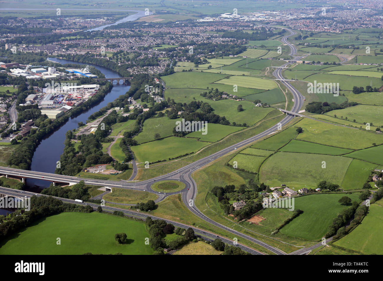 aerial view of the Lancaster Northern Bypass A683, Heysham to M6 link road, Lancashire Stock Photo