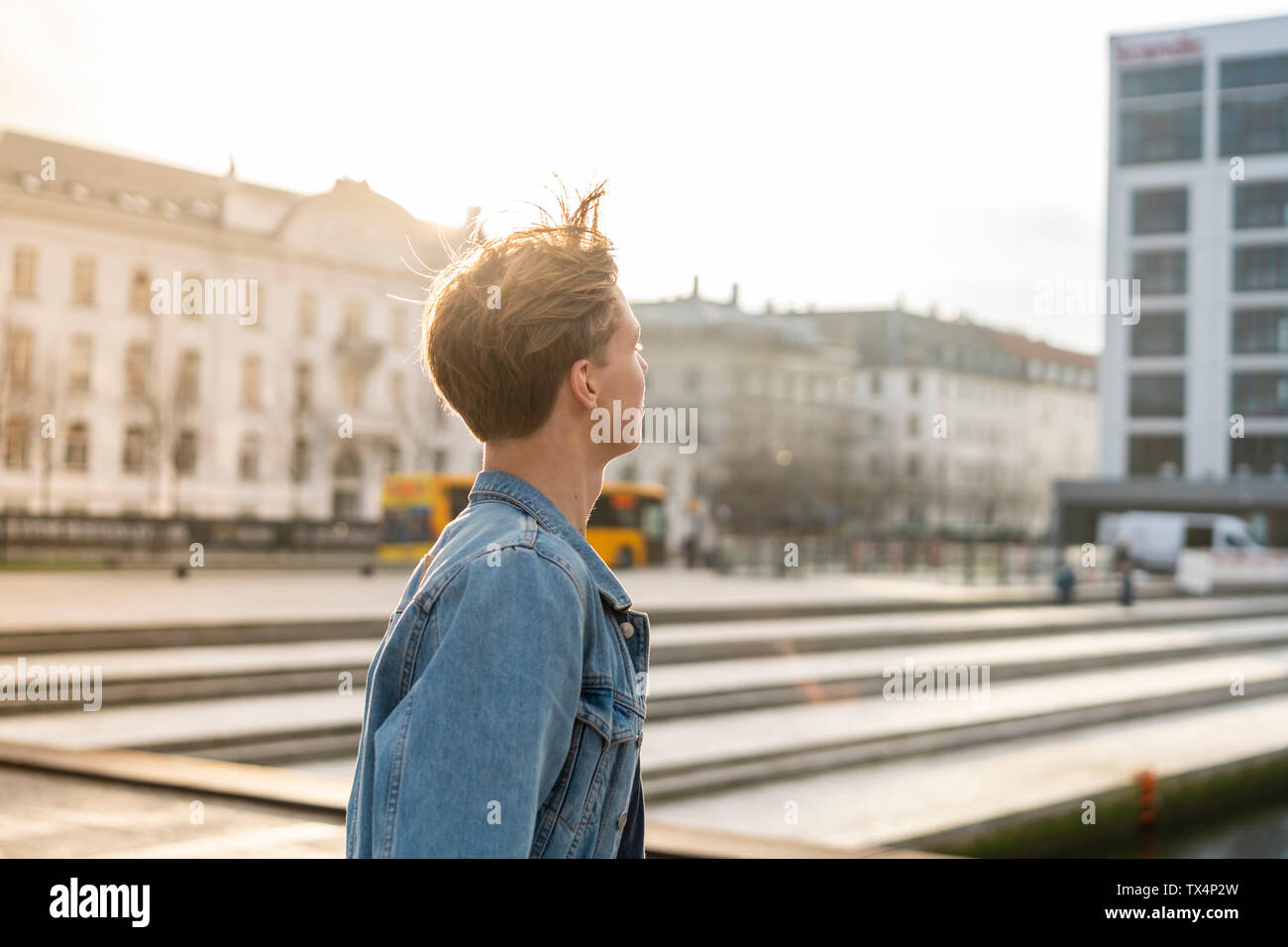 Denmark, Copenhagen, young man in the city - Stock Image