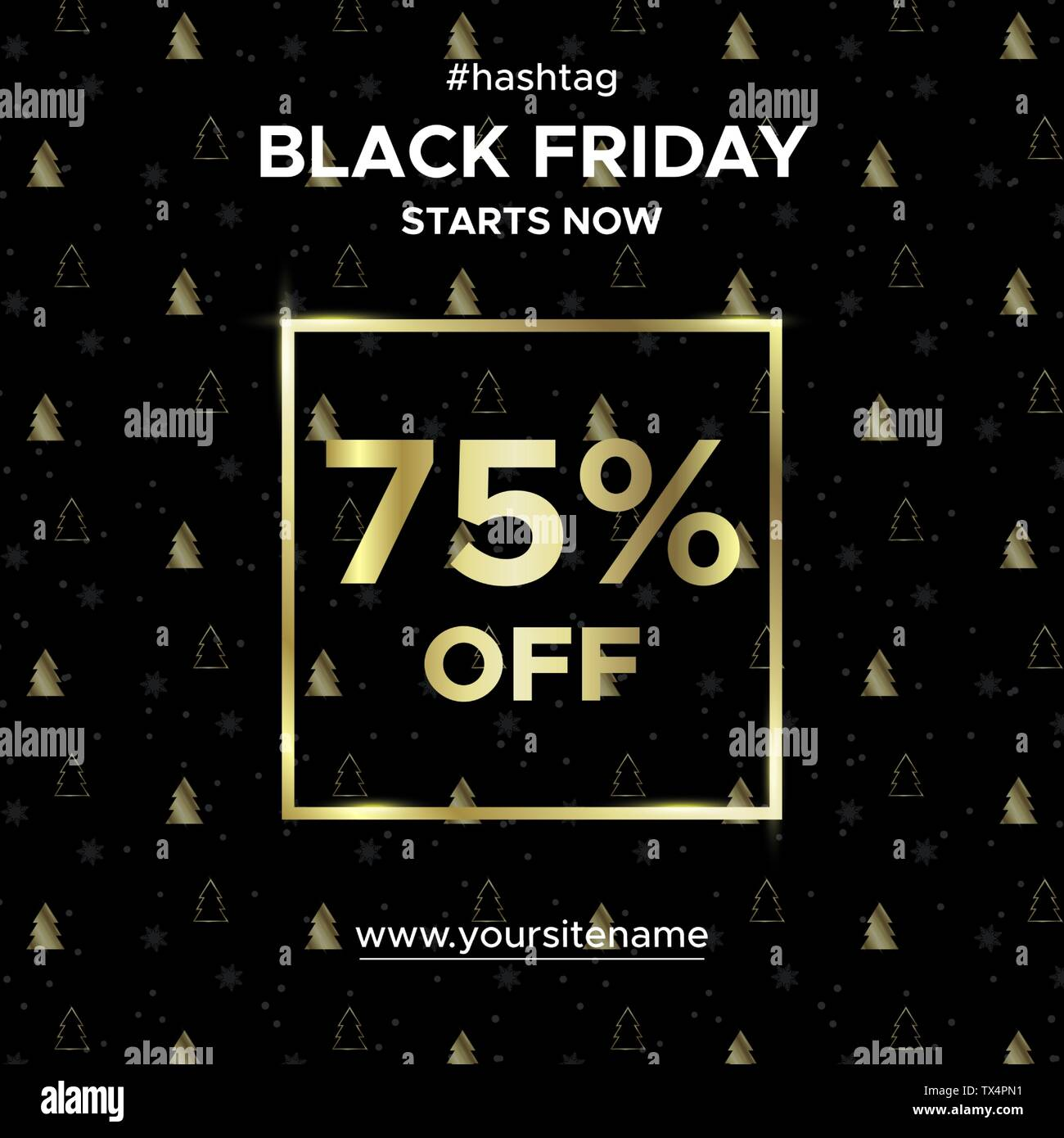 Sale Banner Black Friday Up To 75 Percent Off Stock Vector Image Art Alamy