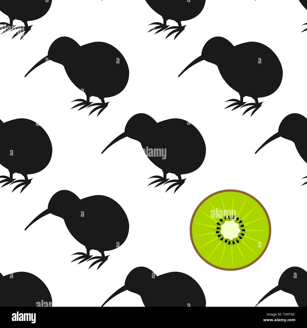 Kiwi birds and fruit seamless pattern. Vector illustration - Stock Image