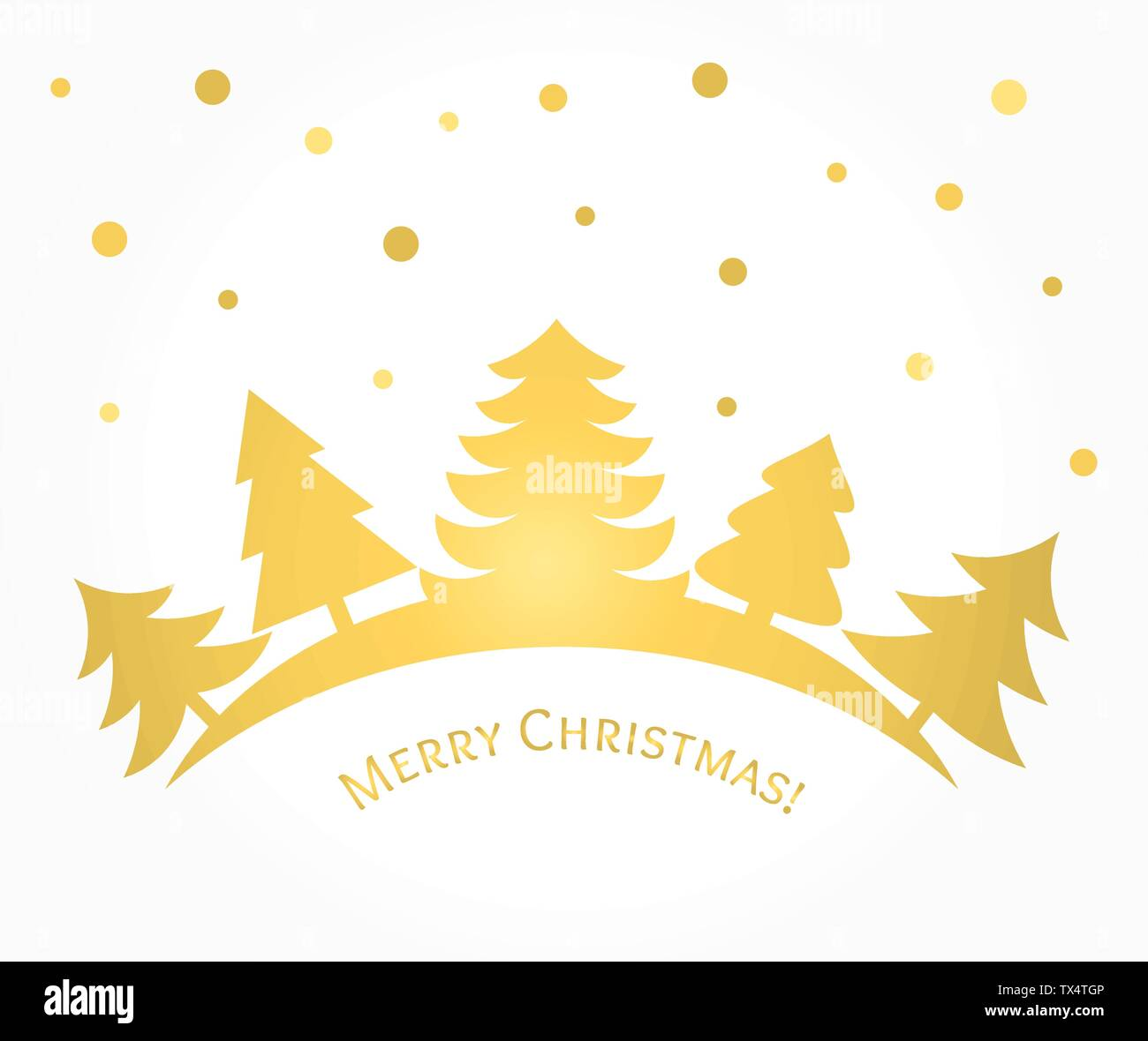 Gold Christmas trees card. Vector illustration - Stock Image