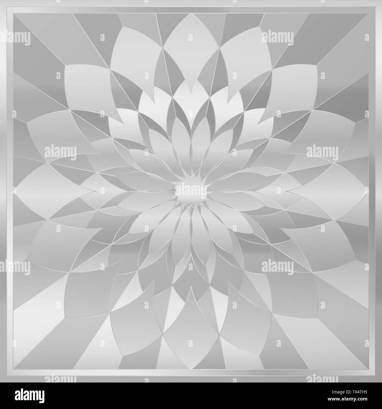 Silver tile. Marquetry inlay work, square format. Stock Photo