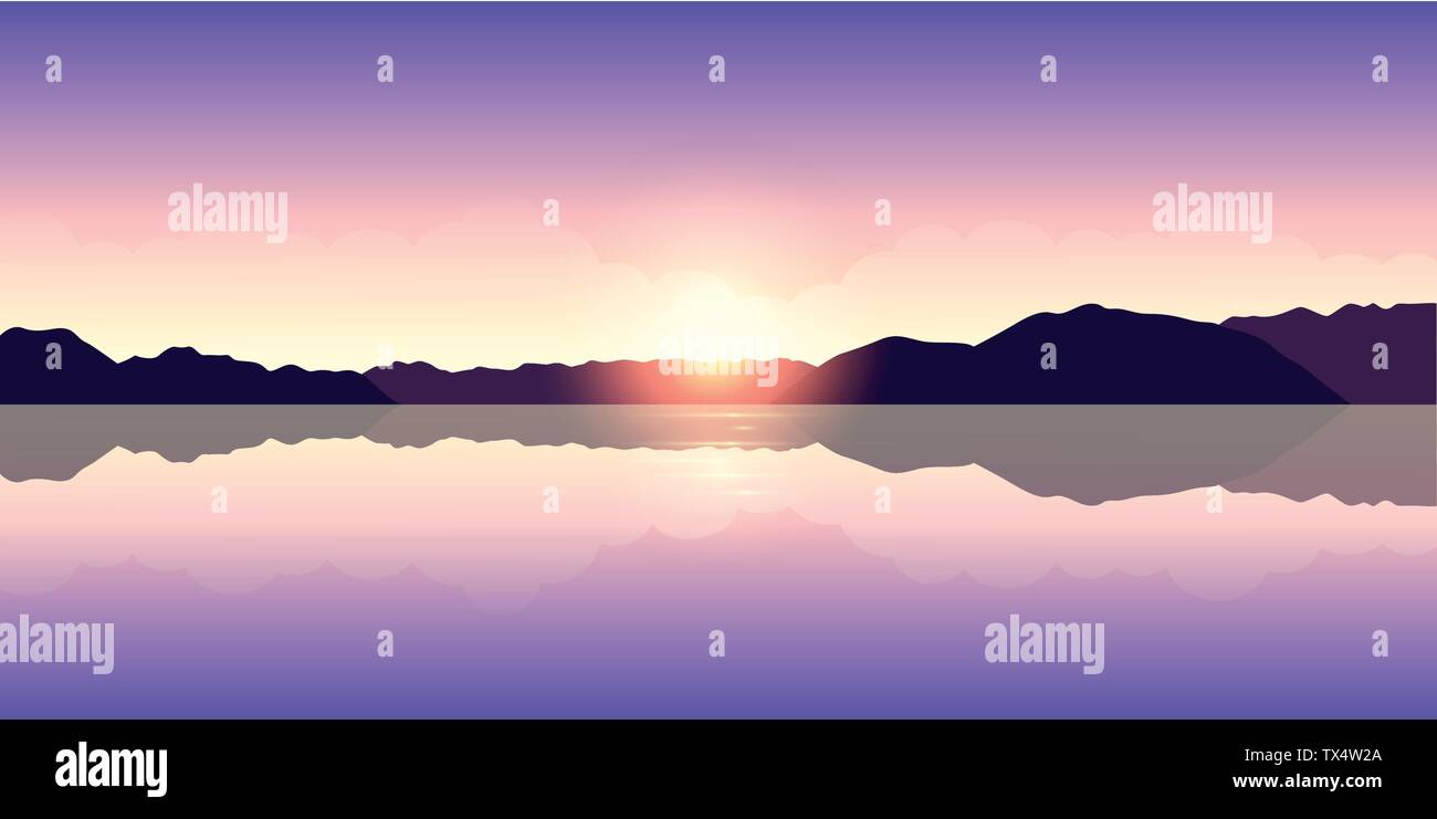 beautiful purple sunset by the lake vector illustration EPS10 - Stock Image