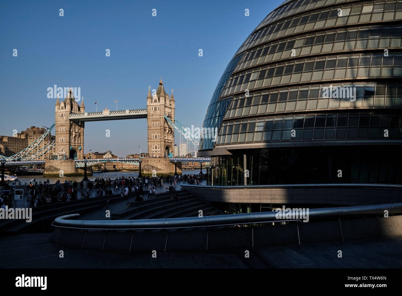 UK, London, River Thames, City Hall and Tower Bridge - Stock Image