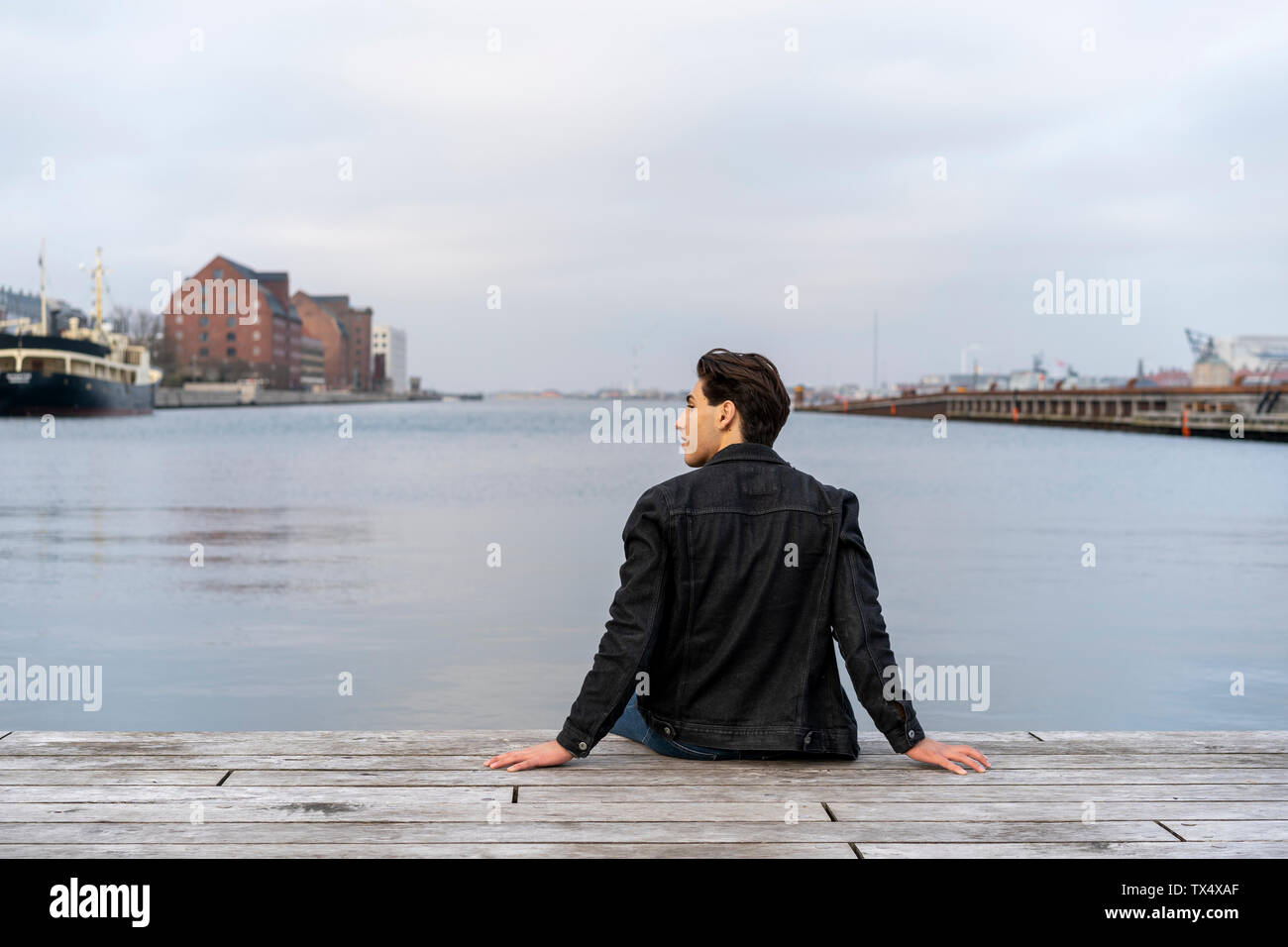 Denmark, Copenhagen, rear view of young man sitting at the waterfront - Stock Image