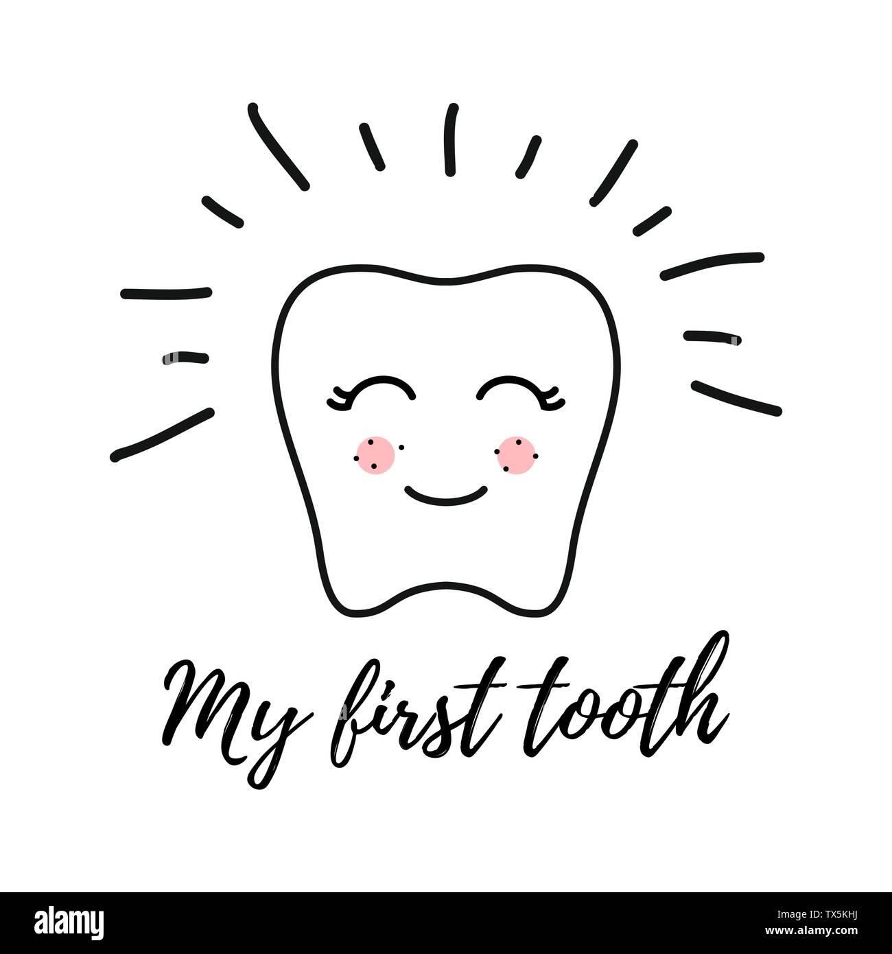 kawaii tooth contour Line With the inscription My First Tooth. Vector illustration of Happy tooth Face isolated On White Background. Template for Prin - Stock Image