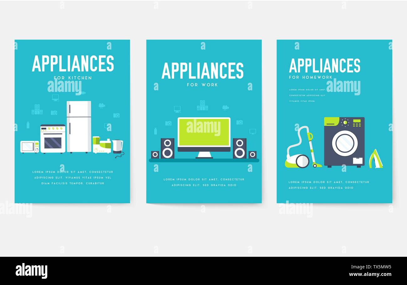 Home Appliances Cards Set Electronics Template Of Flyear