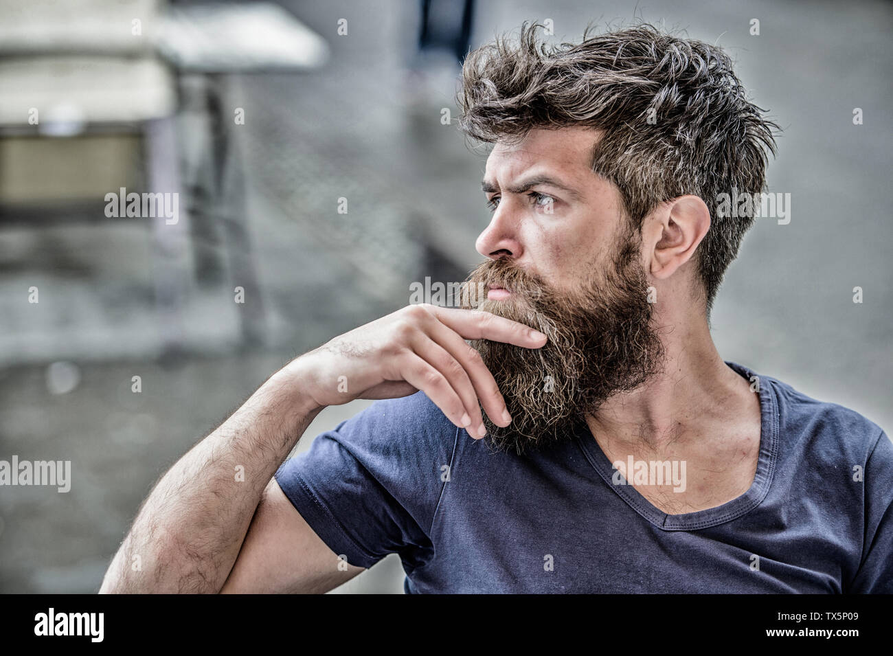 Making hard decision. Bearded man concentrated face. Hipster with beard thoughtful expression. Thoughtful mood concept. Making important life choices. Man with beard and mustache thoughtful troubled. - Stock Image