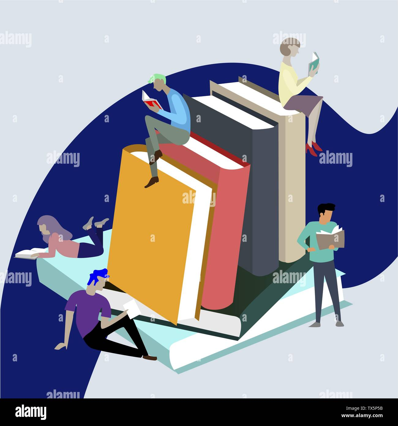 People read books, sitting on stack. Textbook studying, reader bibliophile, bookworm on pile of book illustration - Stock Image