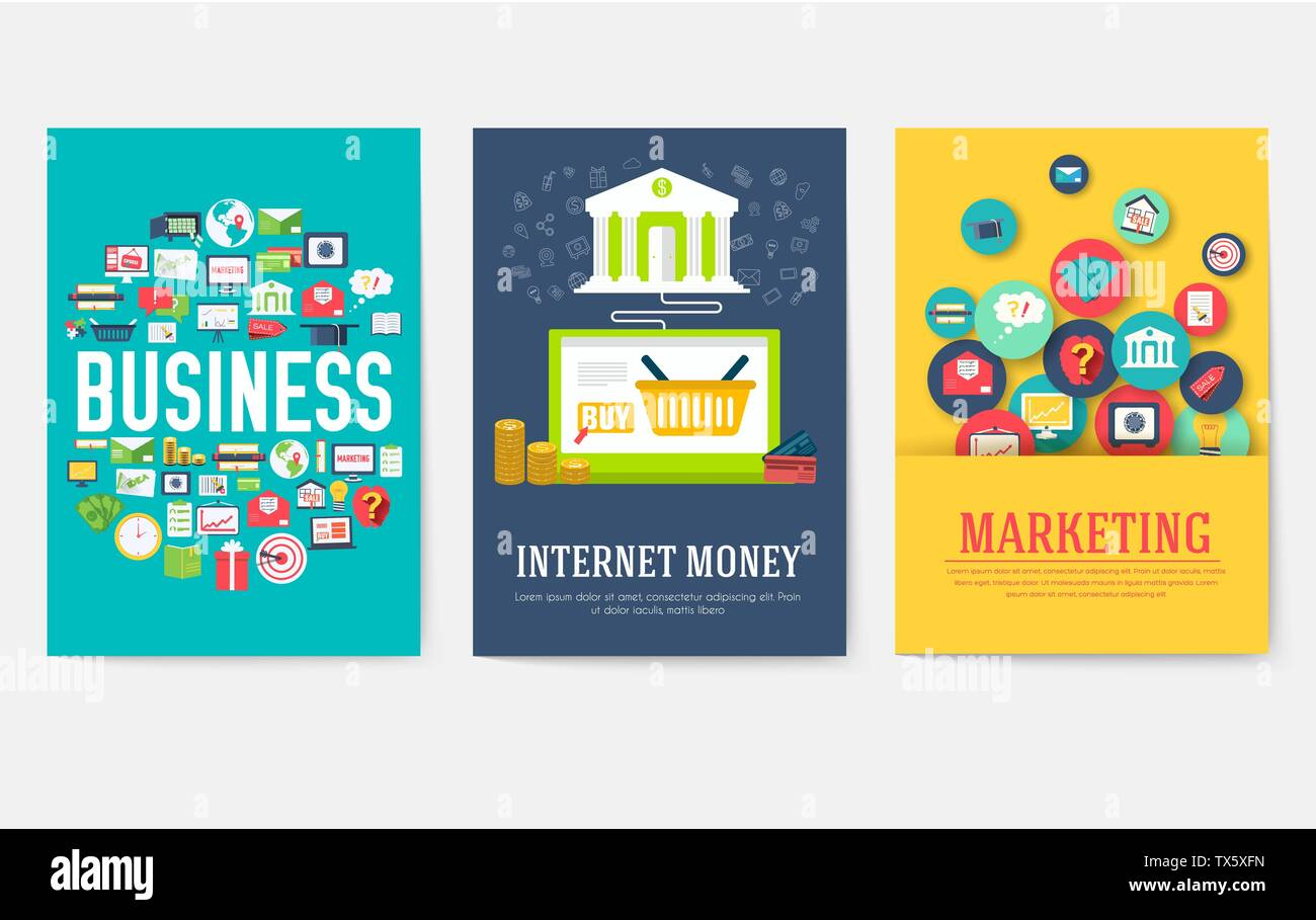 Business elements cards set. Marketing template of flyear, magazines, book cover, banners, booklet. idea infographic concept background. Layout illustrations modern pages with typography - Stock Image