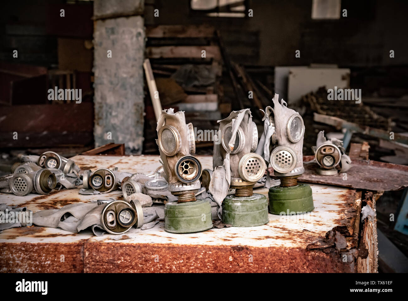 Old Gas mask in settlement, Chernobyl Exclusion Zone, Ukraine - Stock Image