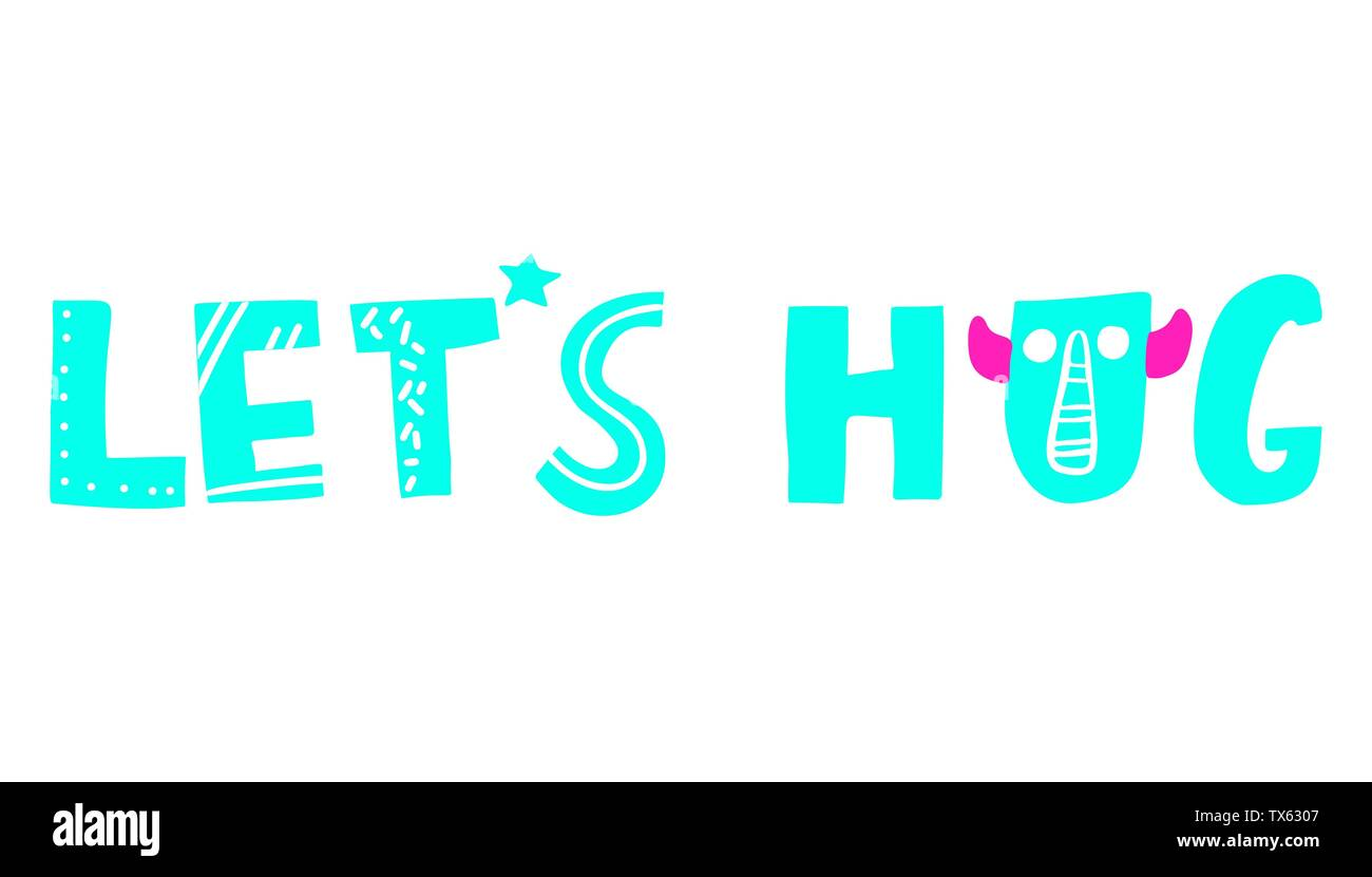 vector monsters cute lettering - Stock Image