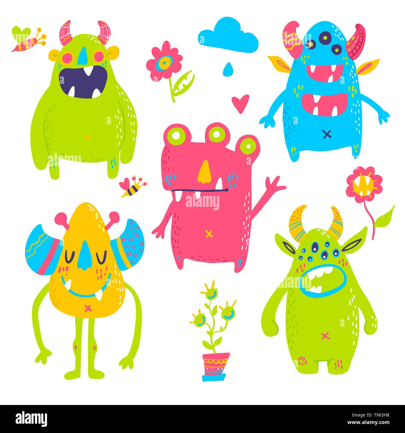 Vector isolated cute cartoon monsters  - Stock Image