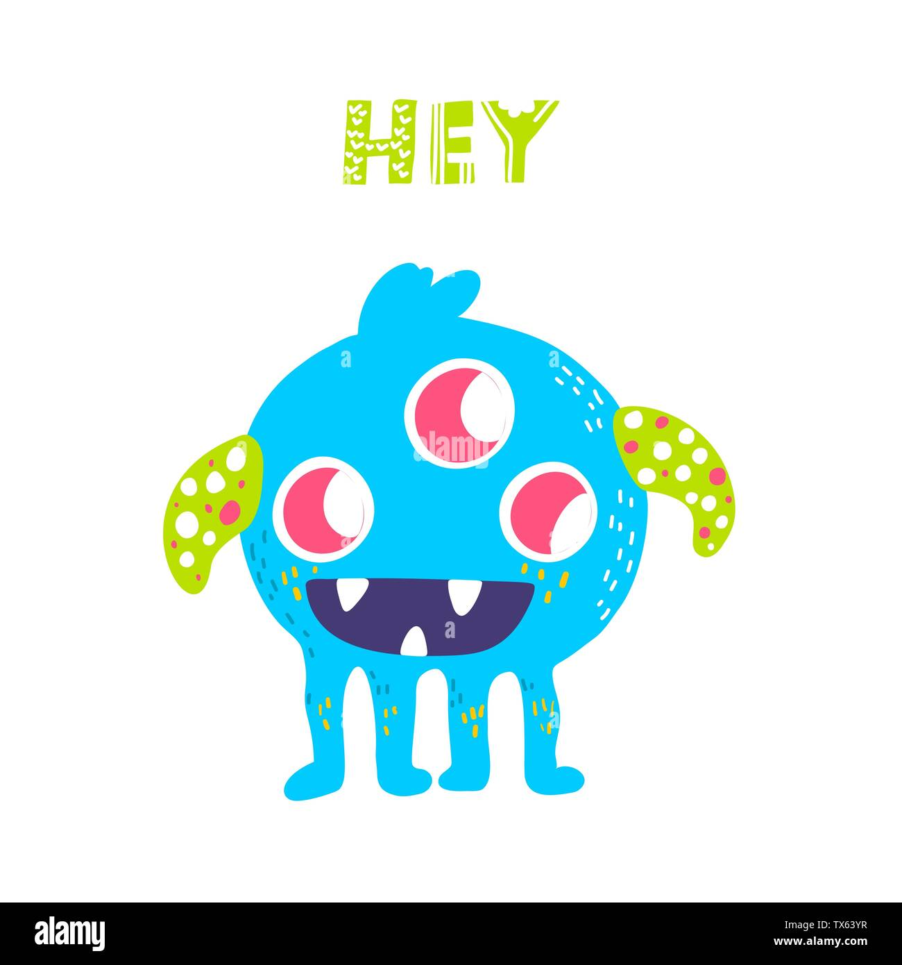 Vector isolated cute cartoon monster  - Stock Image