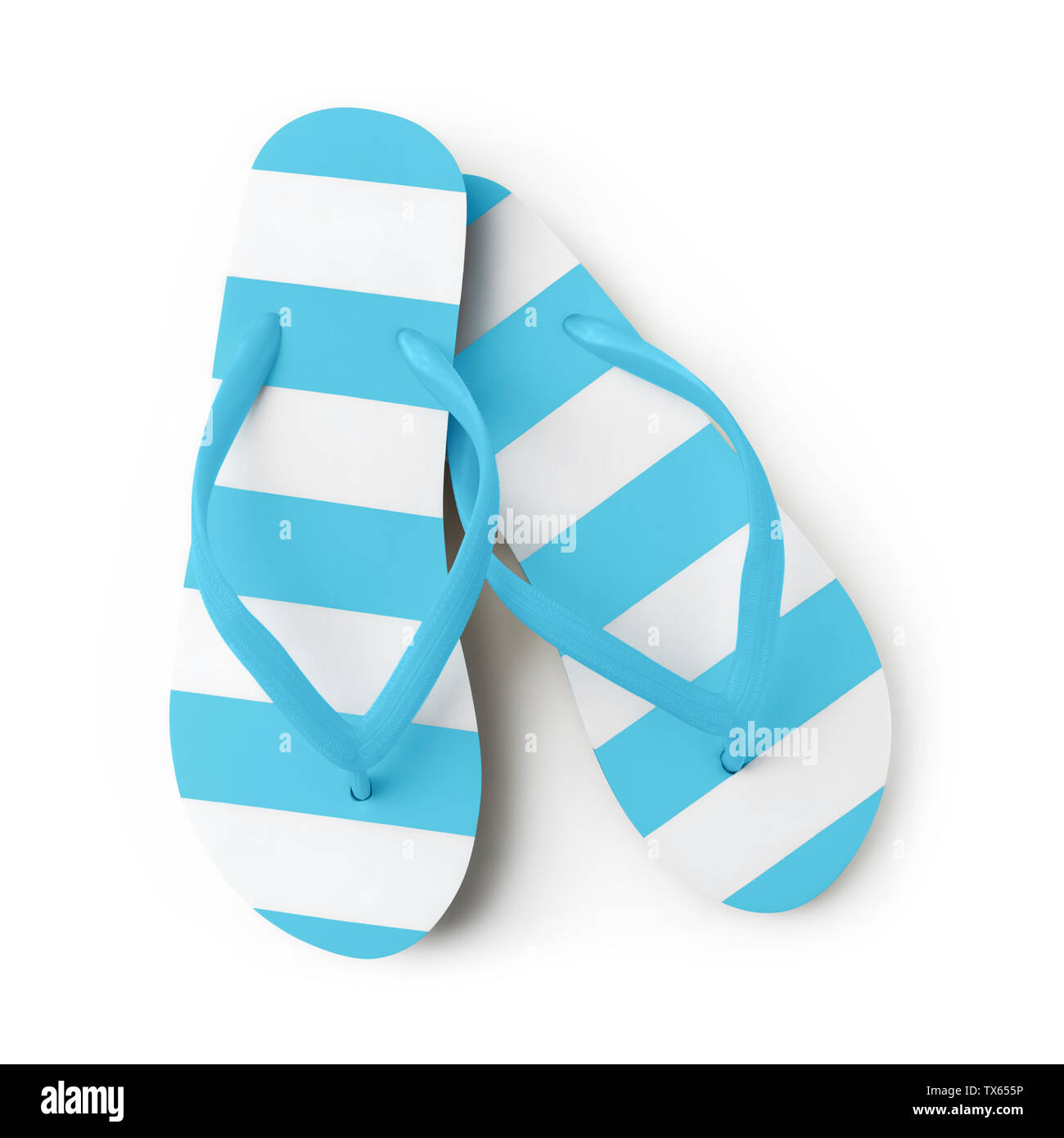 Top view of summer beach light blue flip flop isolated on white background sea holiday vacation and travel concept - Stock Image