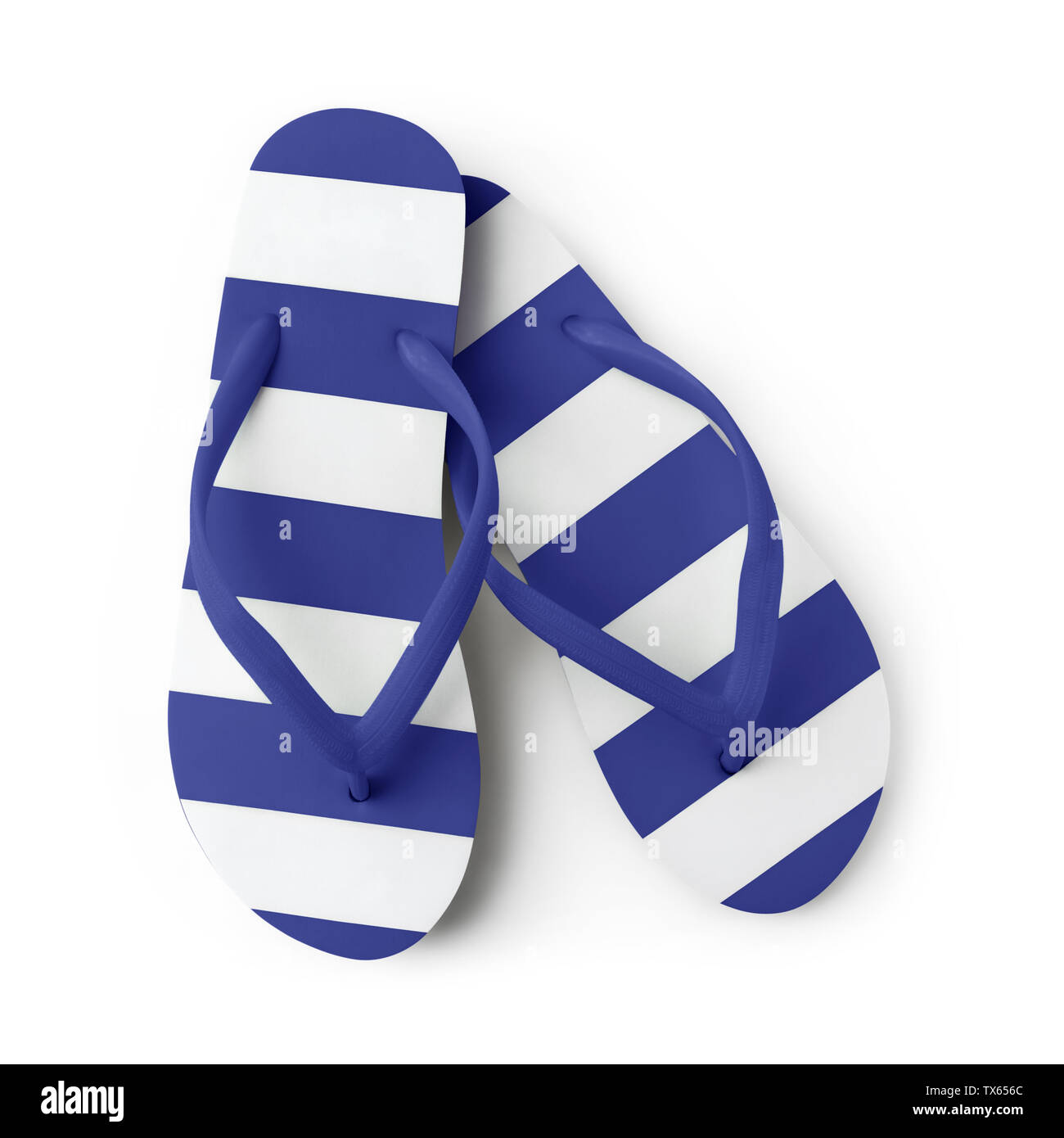 Top view of summer beach blue flip flop isolated on white  background sea holiday vacation and travel concept - Stock Image