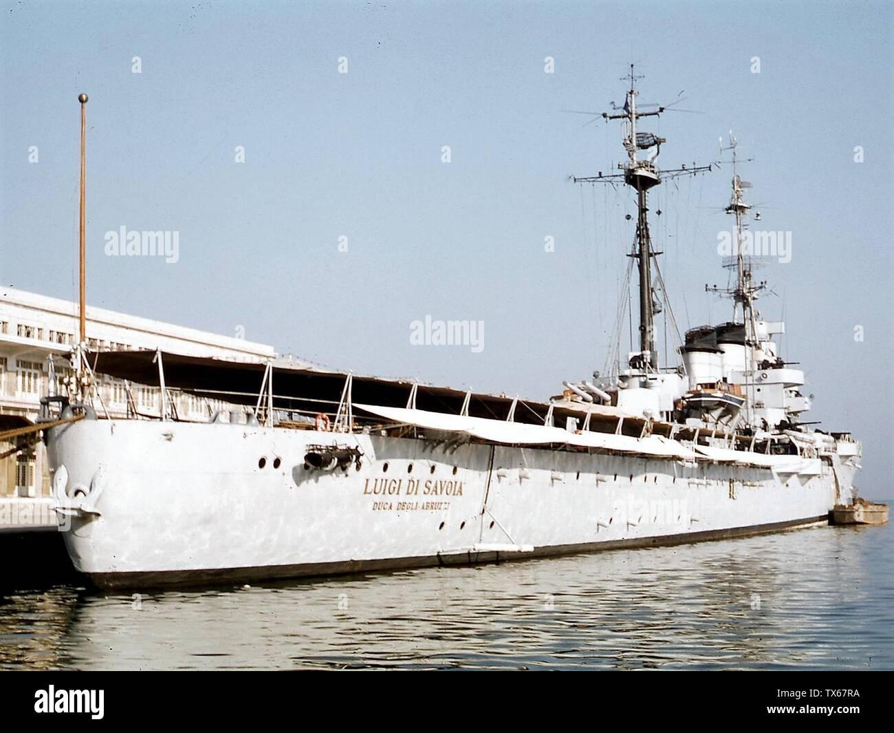 'The cruiser Duca degli Abruzzi moored in Trieste.; 1959; it.Wikipedia; unattributed; ' - Stock Image