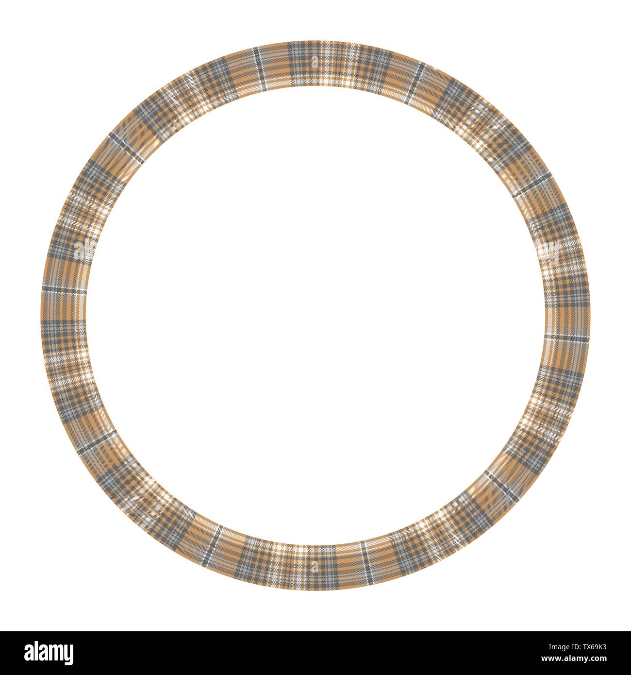 Round frame vector vintage pattern design template. Circle border designs plaid fabric texture. Scottish tartan background for collage art, gif card, - Stock Vector