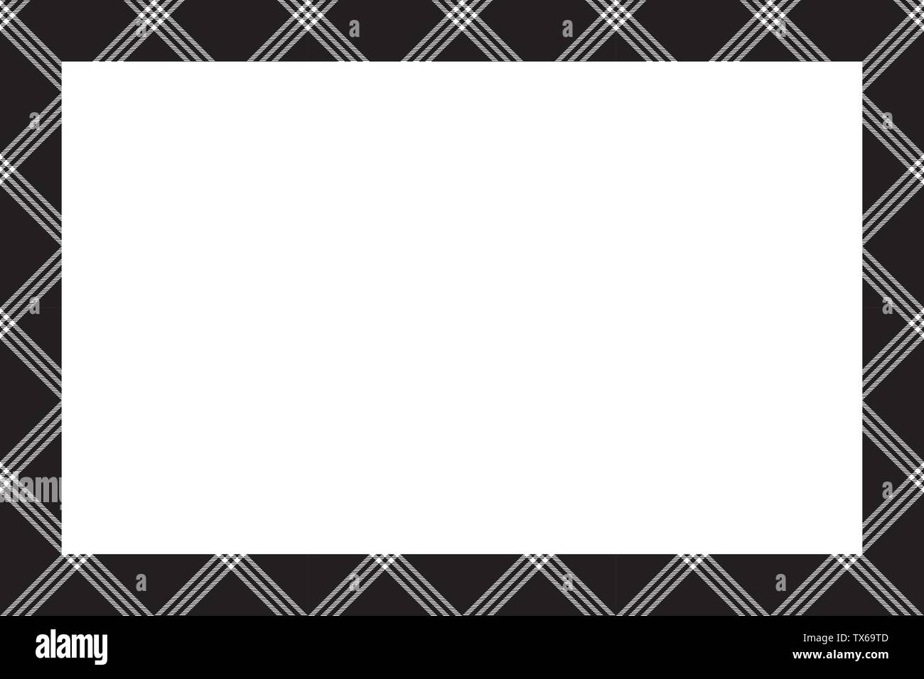 Rectangle borders and Frames vector. Border pattern geometric vintage frame design. Scottish tartan plaid fabric texture. Template for gift card, coll - Stock Vector
