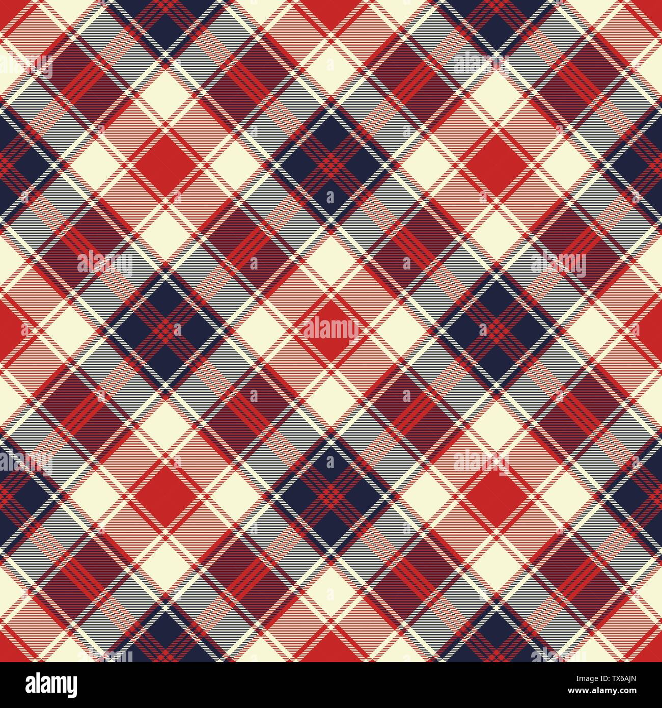 Plaid check diagonal fabric texture seamless pattern. Vector illustration. - Stock Vector