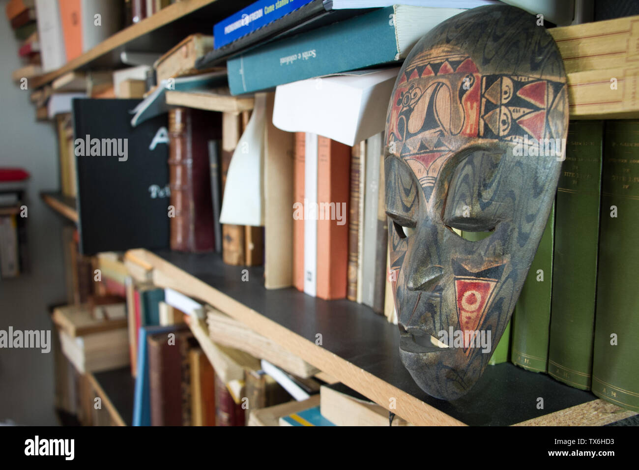 Paris, France - July 05, 2018: Closeup of a shelf with books and an antique mask in a small apartment in the suburbs of Paris - Stock Image