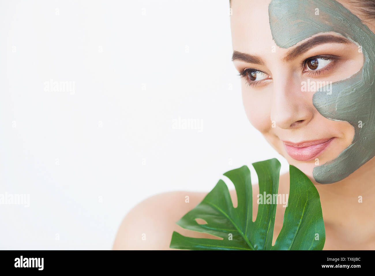 Beauty Face Skin Care Woman With Cosmetic Spa Facial Mask Stock Photo Alamy