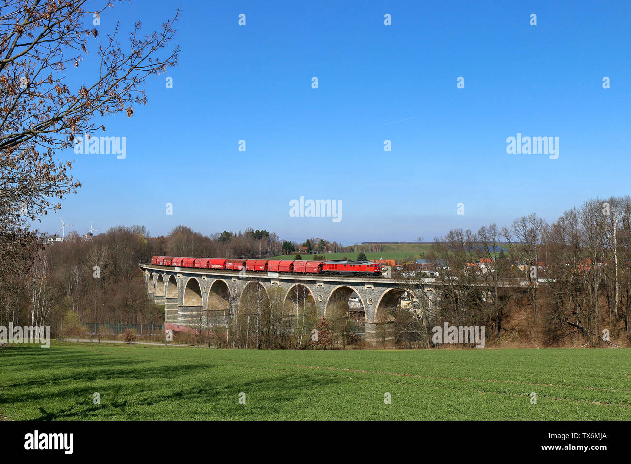 freight train in eastern germany - Stock Image
