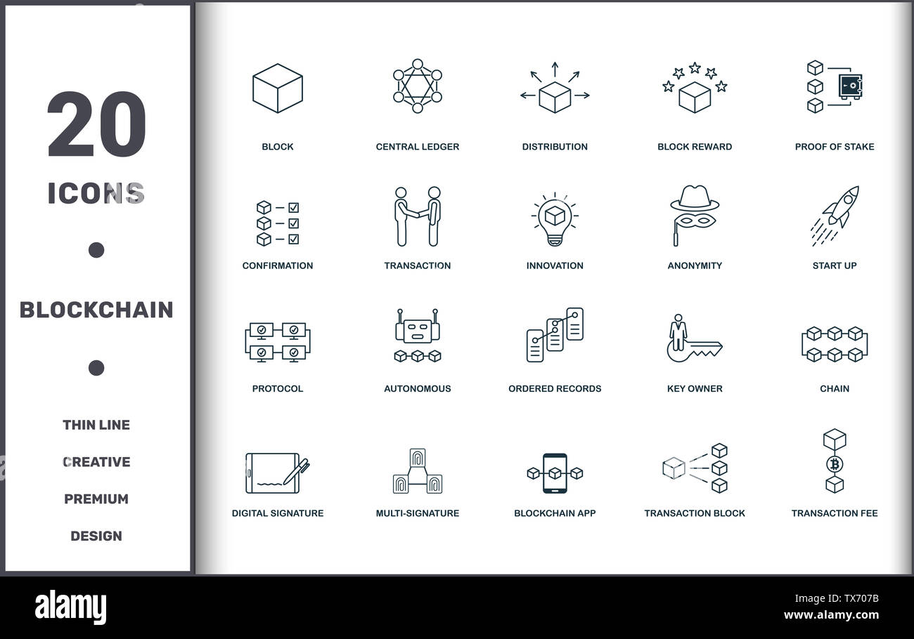 Blockchain set icons collection  Includes simple elements