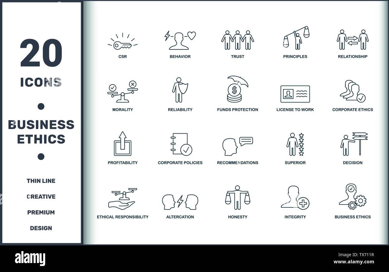 Business Ethics icons set collection. Includes creative elements such as Csr, Behavior, Trust, Principles, Relationship, Corporate Policies and Recomm - Stock Image