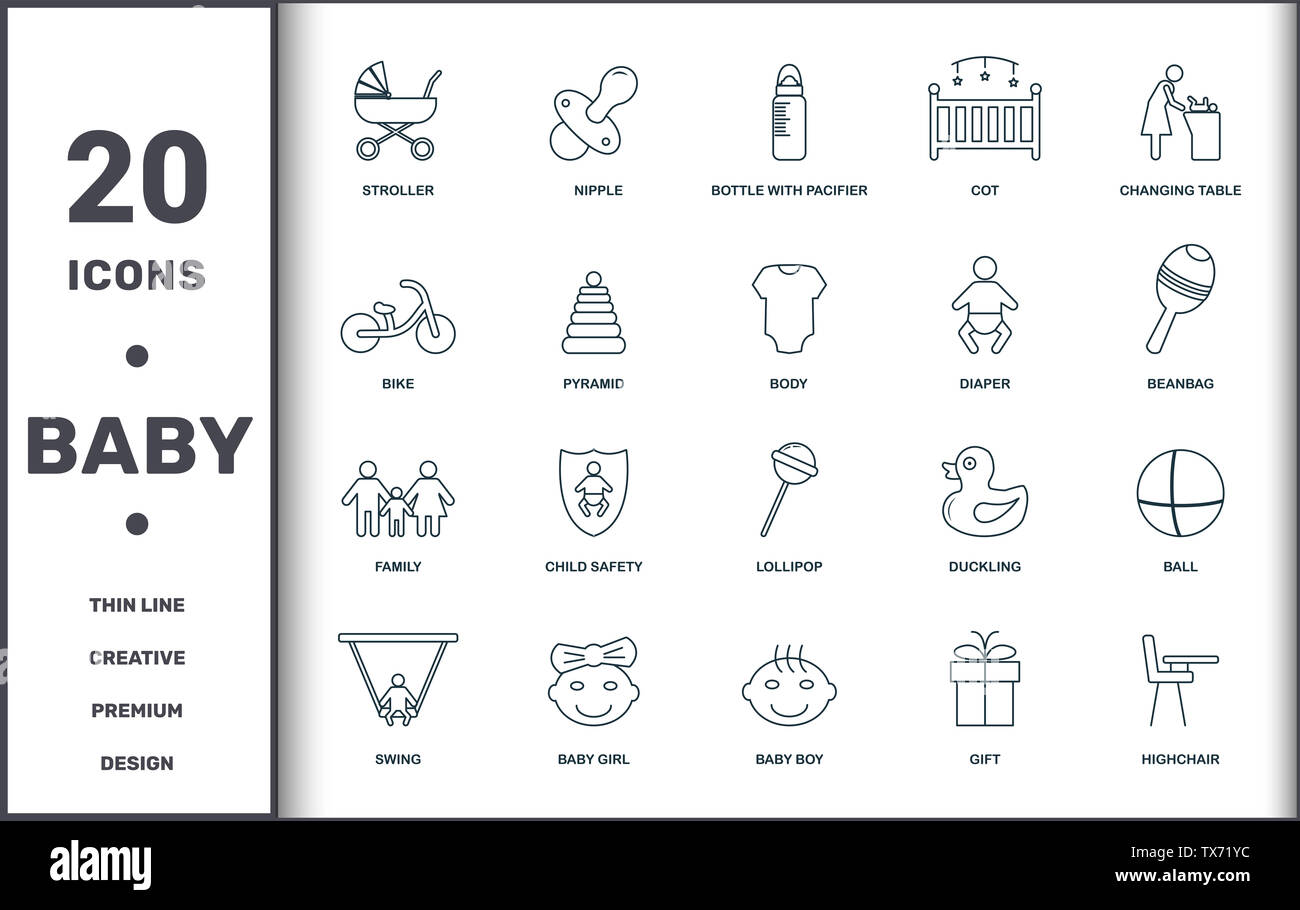 Baby Things icons set collection. Includes creative elements such as Stroller, Nipple, Bottle With Pacifier, Cot, Changing Table, Child Safety and Lol Stock Photo