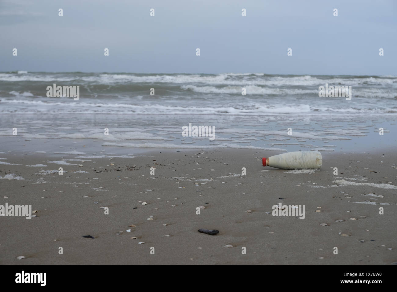 Winter sandy beach in Rimini, Italy. Empty during the off season. - Stock Image