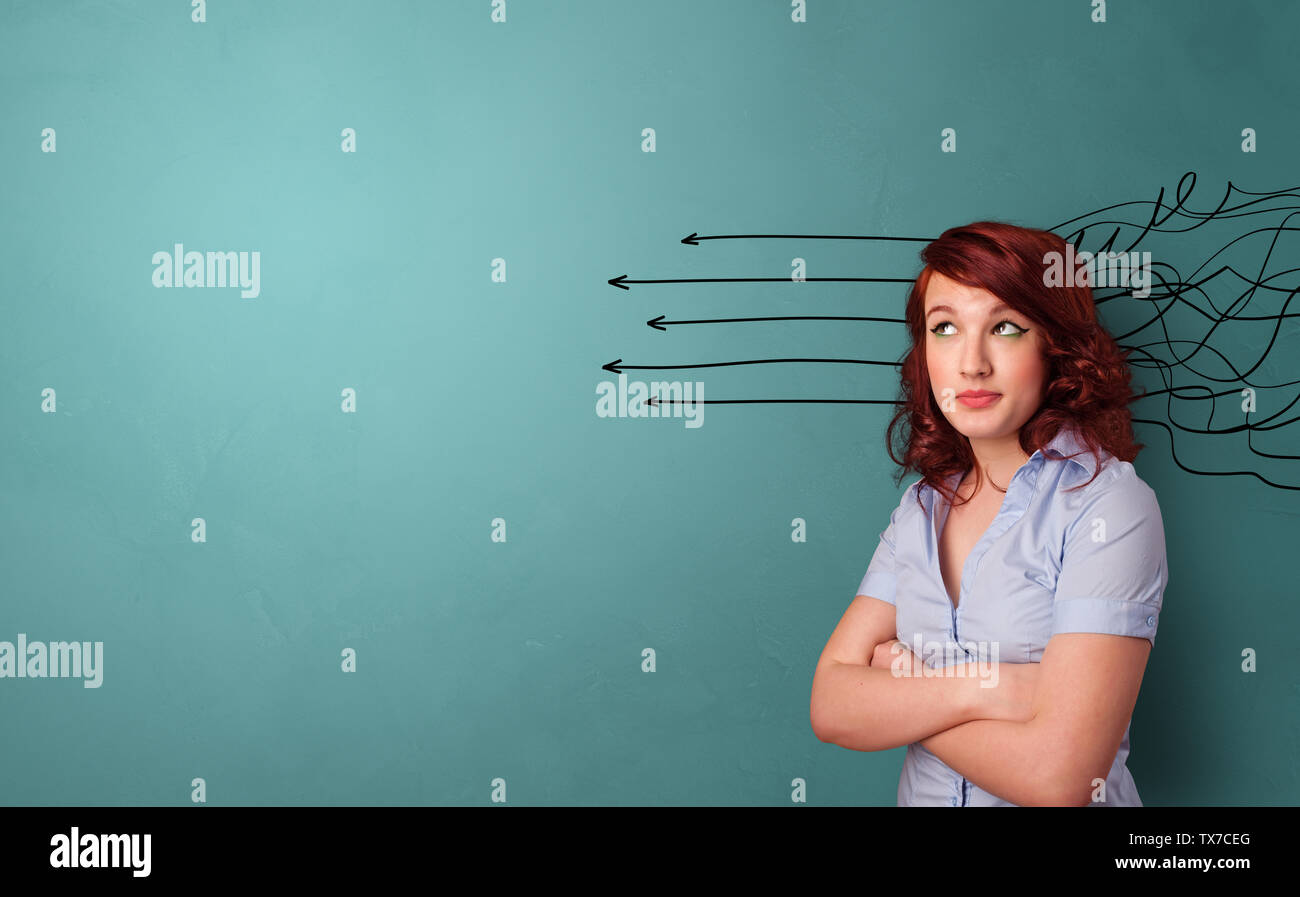 Business person standing with diffuse direction concept  - Stock Image